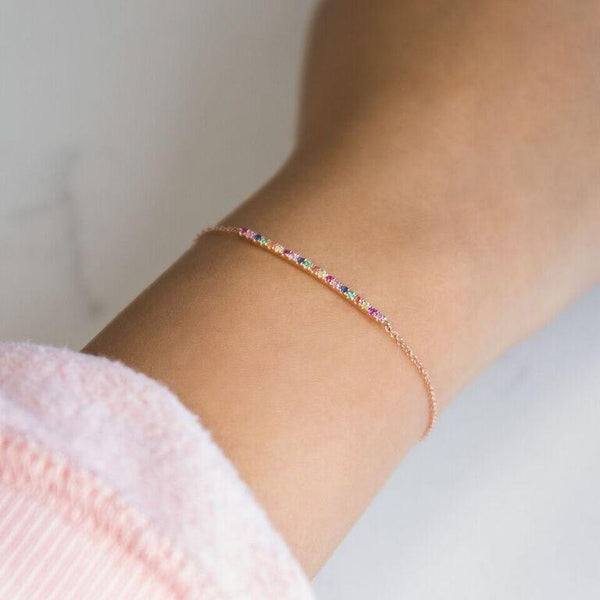 Rainbow Bar Bracelet 14K - Adina's Jewels