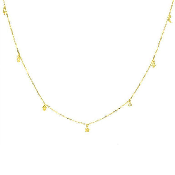 Gold Mini Charms Necklace - Adina's Jewels
