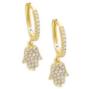Hamsa Huggie Earring Gold - Adina's Jewels