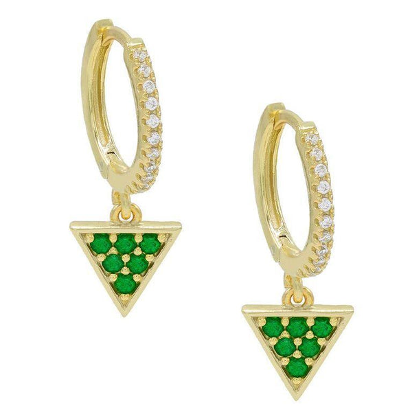 Gold Triangle Huggie Earring - Adina's Jewels