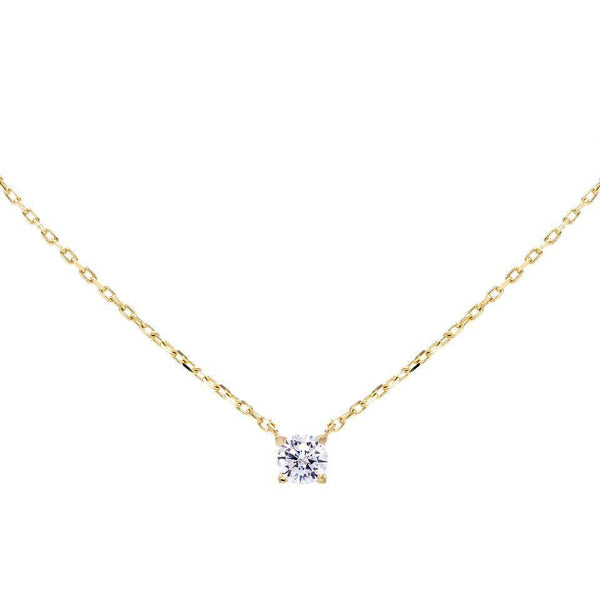 14K Gold Solitaire Necklace 14K - Adina's Jewels