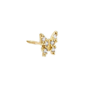 CZ Butterfly Stud Earring 14K 14K Gold / Single - Adina's Jewels