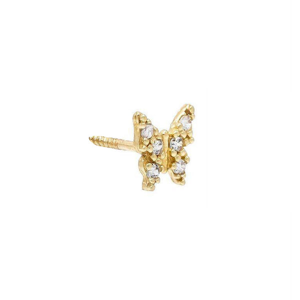14K Gold / Single CZ Butterfly Stud Earring 14K - Adina's Jewels