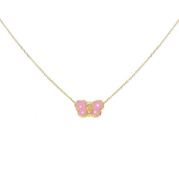 Pink Butterfly Necklace 14K