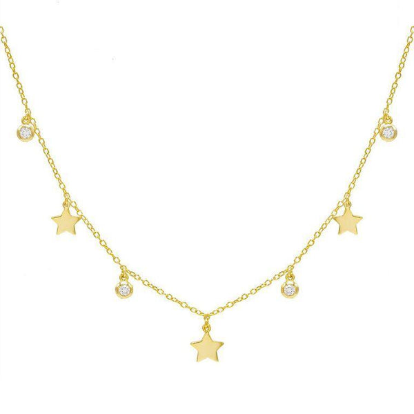 Gold Star X Bezel Choker - Adina's Jewels