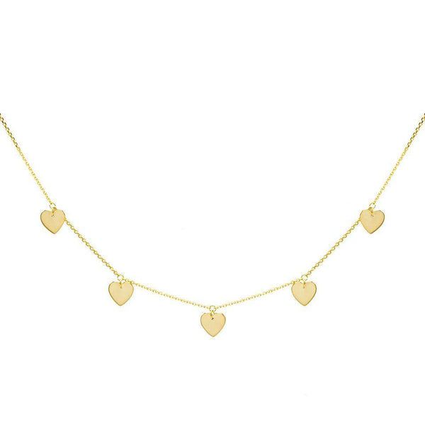 5 Heart Necklace 14K