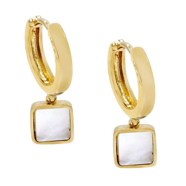 14K Gold Mother of Pearl Square Huggie Earring 14K - Adina's Jewels