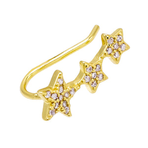 Gold Triple Pavé Star Ear Climber - Adina's Jewels