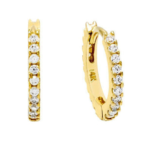 CZ Mini Huggie Earring 14K 14K Gold / Pair - Adina's Jewels