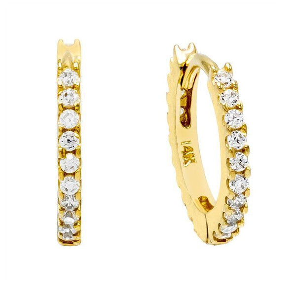 14K Gold / Pair CZ Mini Huggie Earring 14K - Adina's Jewels