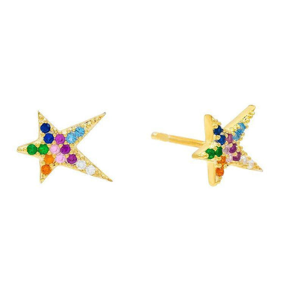 Multi-Color Rainbow Starburst Stud Earring - Adina's Jewels