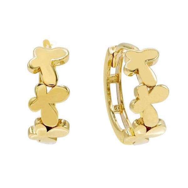 14K Gold Butterfly Huggie Earring 14K - Adina's Jewels