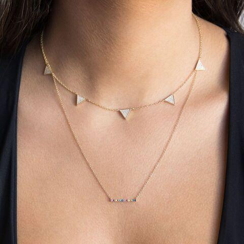 Rainbow Bar Necklace 14K - Adina's Jewels