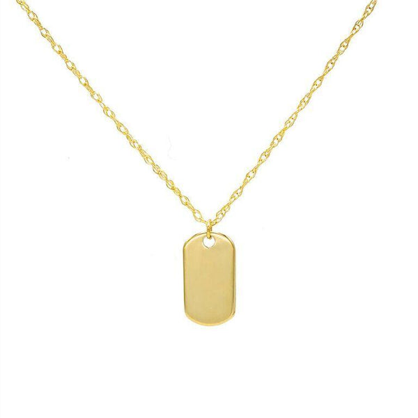 14K Gold Mini Dog Tag Necklace 14K - Adina's Jewels