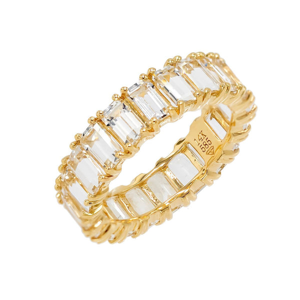 White Topaz Eternity Band 14K