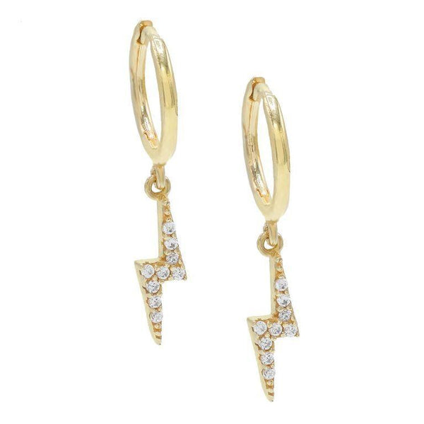 Gold Thunderbolt Huggie Earrings - Adina's Jewels