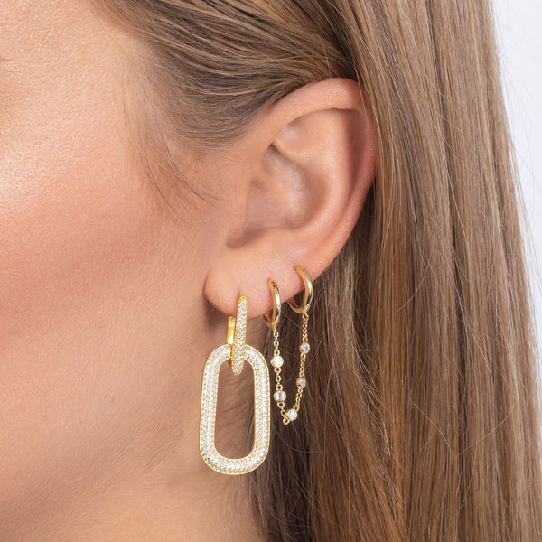 CZ Bezel Chain Double Huggie Earring