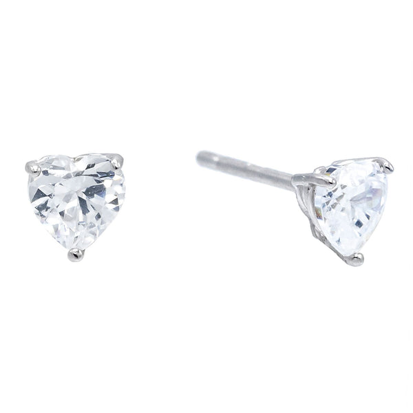 Silver Mini Heart CZ Stud Earring - Adina's Jewels