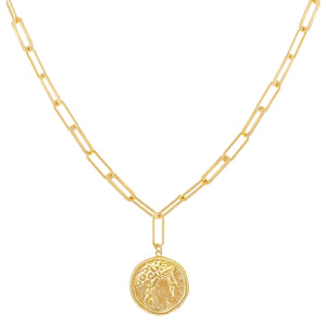 Vintage Coin Drop Link Necklace Gold - Adina's Jewels