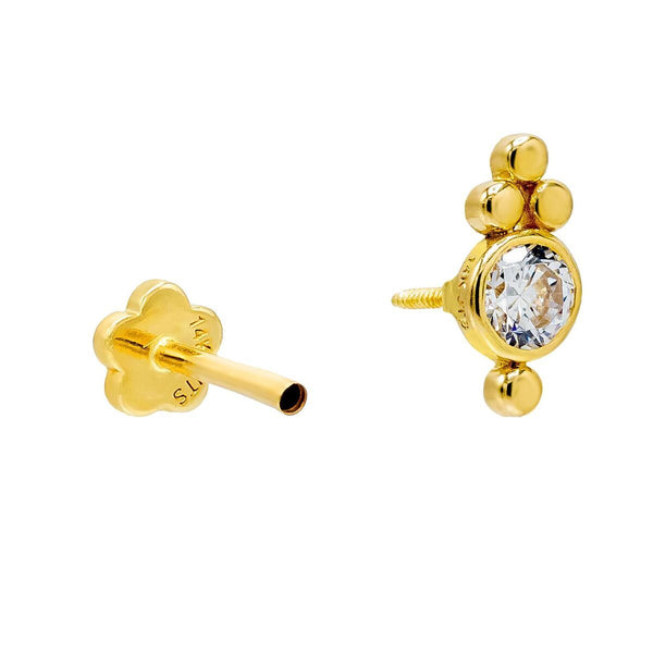 Beaded X Bezel Threaded Stud Earring 14K - Adina's Jewels