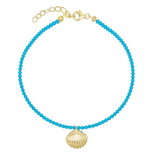 Turquoise Turquoise Shell Anklet - Adina's Jewels