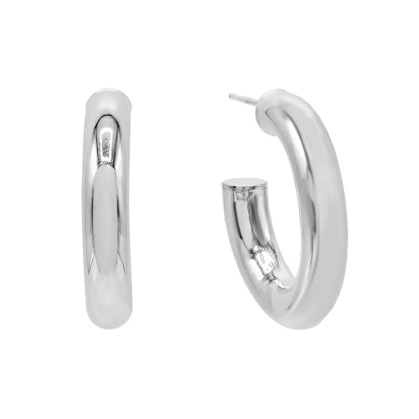 Silver / 35 MM Thick Hollow Hoop Earring - Adina's Jewels