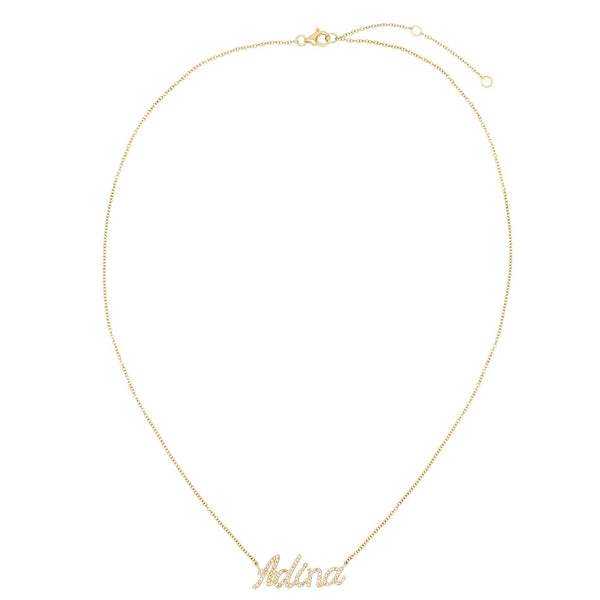 Diamond Script Name Necklace 14K - Adina's Jewels
