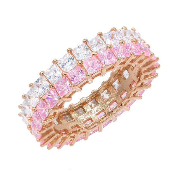 Light Pink / 8 Pastel Double Row Princess Cut Ring - Adina's Jewels