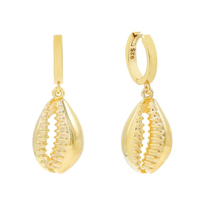 Gold Shell Huggie Earring - Adina's Jewels