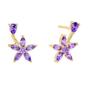 Amethyst Purple Flower Teardrop Stud Earring - Adina's Jewels