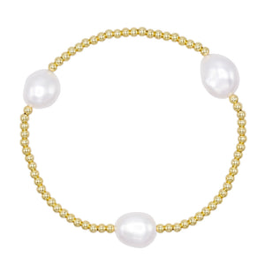Adjustable Pearl Beaded Bracelet Pearl White - Adina's Jewels