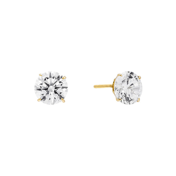14K Gold / 4 MM / Pair Solitaire Stud Earring 14K - Adina's Jewels