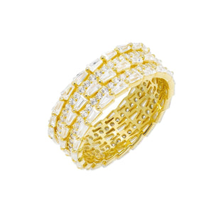 Gold / 7 Triple Row Baguette Ring - Adina's Jewels