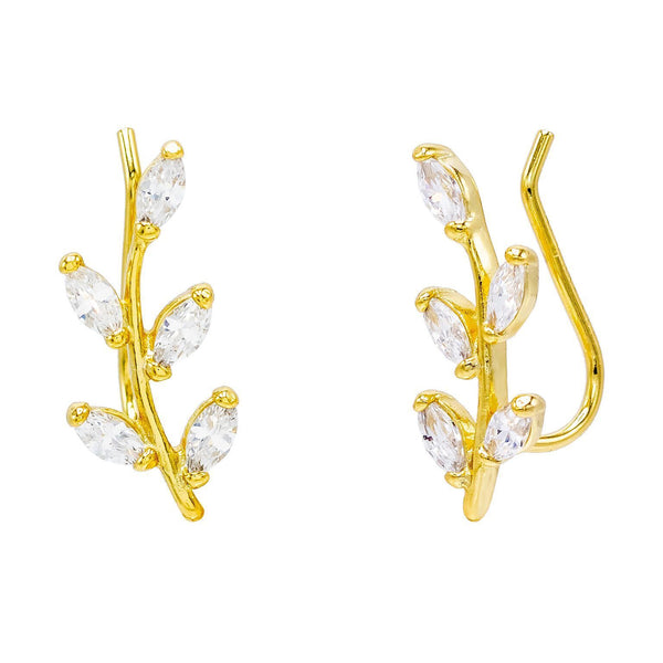 Gold Leaf Stone Ear Climber - Adina's Jewels