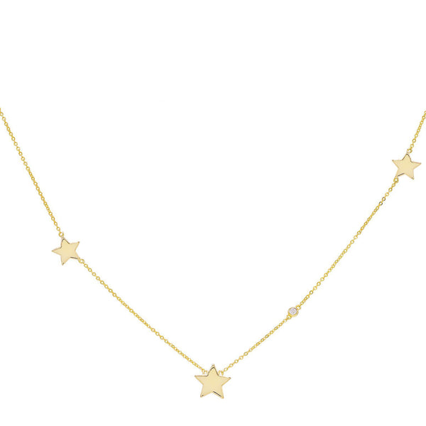 Gold Triple Star Necklace - Adina's Jewels