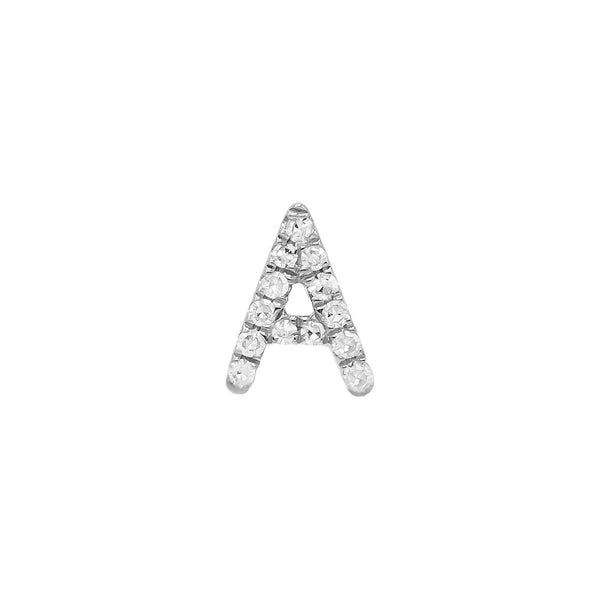 14K White Gold / Single Diamond Initial Stud Earring 14K - Adina's Jewels