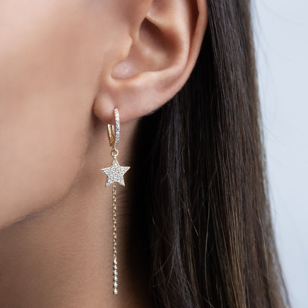 Star Dangle Huggie Earring