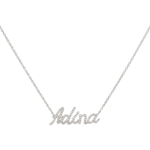 14K White Gold / 2-3 Letters Diamond Script Name Necklace 14K - Adina's Jewels