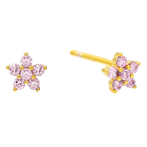 Sapphire Pink Mini Flower Stud Earring - Adina's Jewels