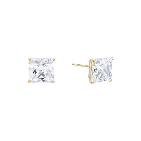 14K Gold / 5 MM / Pair Princess Cut Stud Earring 14K - Adina's Jewels