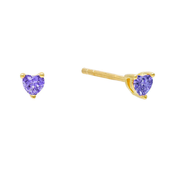 Amethyst Purple CZ Heart Stud Earring - Adina's Jewels