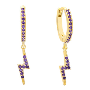 Amethyst Purple Colored Lightning Huggie Earring - Adina's Jewels