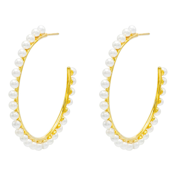 Pearl White / 58 MM Pearl Studded Hoop Earring - Adina's Jewels