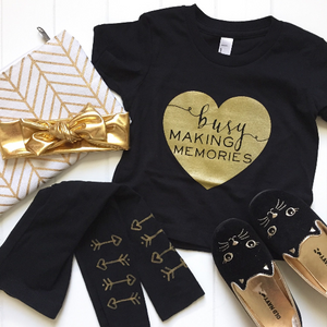 {3-6m} Busy Making Memories Gold Heart Tee Black