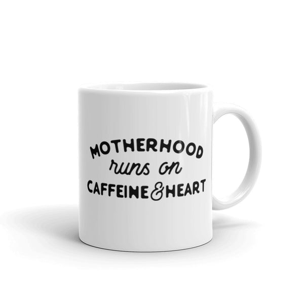 Motherhood Runs on Caffeine & Heart Mug - Jumping Jack Apparel