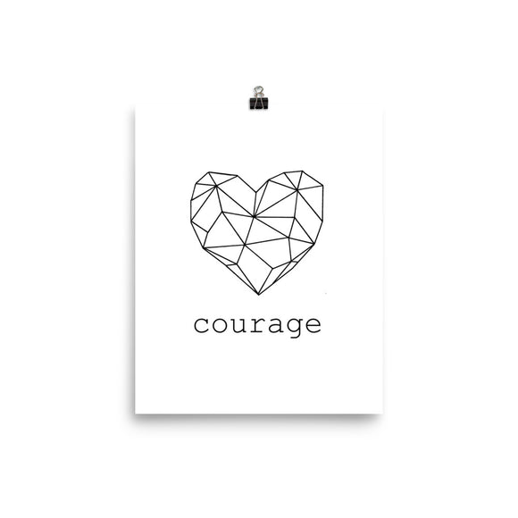 Courage Heart White Photo paper poster