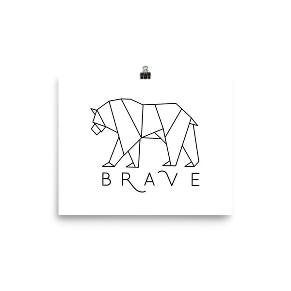 Brave Bear White Photo paper poster