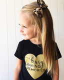 Busy Making Memories Gold Heart Tee Black