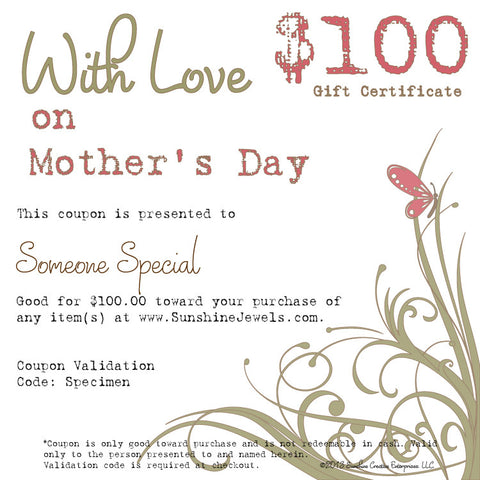 $100.00 Mothers Day eGift Certificate