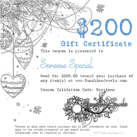 $200.00 Mothers Day eGift Certificate